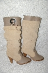 "**MBAB #29-190  ""1986 Tan With Leather Trim Fancy Cowboy Boots"""