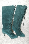 "**MBAB #29-045  ""Newport News 1995 Green Suede Fancy Lace Up Boot"""