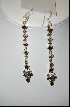 +MBA #7696  4 Inch Gemstone Sterling Dangle Earrings