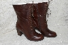 "**MBAB #99-029  ""Two Lips Brown Leather  Lace Up Aleda Boots"""
