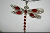 "**MBA #7730   ""Red Crystal Sterling Dragonfly Pendant"