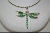 "**MBA #7735   ""Green Crystal Sterling Dragonfly Pendant"