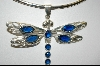 "**MBA #7741   ""Blue Crystal Sterling Dragonfly Pendant"