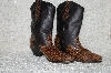"**MBAB #99-289  ""Brown Leather Faux Snake Skin Trimed Cowboy Boots"""
