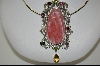 **MBA #7743  Large Red Agate & Multi Gem Fancy Sterling Pendant