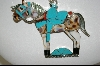 ** MBA #7591  Blue Turquoise & Multi Gem Inlay Sterling Horse Pendant