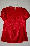 "MBAMG #25-300  ""Chenault Bow Neckline Red Satin Shirt"""