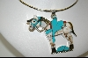 "**  MBA #7574   ""Blue TQ & Multi Gem Sterling Inlay Horse Pendant"