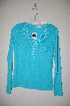 "MBAMG #25-085  ""Together Turquoise Blue Floral Embroidered Top"""