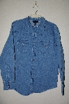 "+MBAMG #25-264  ""Denim & Co Stretch Denim Snap Front Western Shirt"""