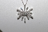 "**MBAMG #25-236  ""14K White Gold 1Ct Diamond Snowflake Pendant & Chain"""