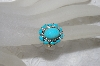 "**MBAMG #25-228  ""14K Yellow Gold Oval Cut Blue Turquoise & Diamond Ring"""