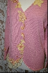 "+MBA #7916   ""Pink StoryBook Sweater With Yellow Applique Flowers & Pink Pearls"