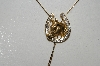 "MBAMG #25-189  ""Goldtone Rhinestone Horseshoe Bolo Necklace"""