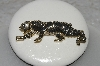 "MBAMG #25-193  ""Gold Plated,Black Enamel & Crystal Rhinestone Tiger Pin"""