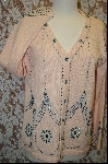 "+MBA #7873   ""StoryBook Knits Limited Edition Peach Colored Hand Beaded Sweater"
