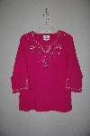 "**MBANF #587  ""Quacker Factory Pink Flamingo's Sparkle Embelished 3/4 Sleve Top"""
