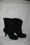 "**MBANF #306  ""Venus USA Fancy High Heeled Black Suede Boots"""
