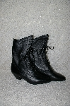 """SOLD""   MBANF #301  ""Oak Tree Farms Black Fancy Lace Up Granny  Boots"""