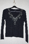 "MBANF #607  ""Radzoli Fancy Bead Embelished Black Sweater"""