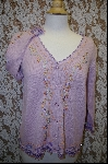 "+MBA #7856   ""StoryBook Knits Limited Edition Lavender  Floral & Fringed Sweater"