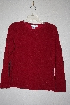 "**MBANF #614  ""Coldwater Creek Fancy Embossed Red Stretch Top"""