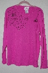 "**MBANF #631  ""Quacker Factory Pink Spiderweb Embelished Long Sleve T"""