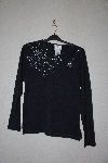 "**MBANF #633  ""Quacker Factory Black Spiderweb Embelished Long Sleve T"""
