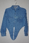 "+MBAMG #11-0720  ""Retro Blue Denim Tie Front Top"""