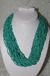 "**MBAMG #11-0776  ""Bold Turquoise Blue Seed Bead Torsade Necklace"""