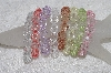 "MBAMG #11-0787  ""Set Of 8 Light Faceted Acrylic Bead Stretch Bracelets"""