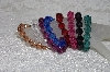 "MBAMG #11-0784  ""Set Of 8 Dark faceted Acrylic Bead Stretch Bracelets"""