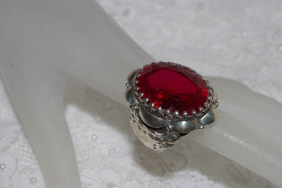 "**MBAMG #11-0968  ""Clem Nalwood Large Created Ruby Sterling Ring"""
