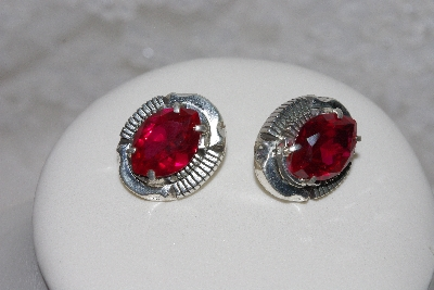 "+MBAMG #11-0923  ""L Bennette Faceted Created Ruby Sterling Earrings"""
