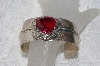 "**MBAMG #11-804  ""L Bennette Created Ruby Sterling Cuff Bracelet"""