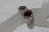 "**MBAMG #11-808  ""Nelwood Fancy Faceted Garnet Sterling Cuff Bracelet"""