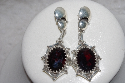 "+MBAMG #11-0925  ""Nalwood Faceted Garnet Handmade Sterling Earrings"""