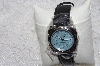 "*MBAMG #11-1063  ""Invicta Ladies Blue Face Black leather Strap Watch"""