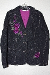 "**MBAMG #79-098  ""Denim & Co Black Denim Floral Embroidered Jacket"""