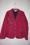 "**MBAMG #79-172  ""Denim & Co Red Floral Embroidered Denim Jacket"""